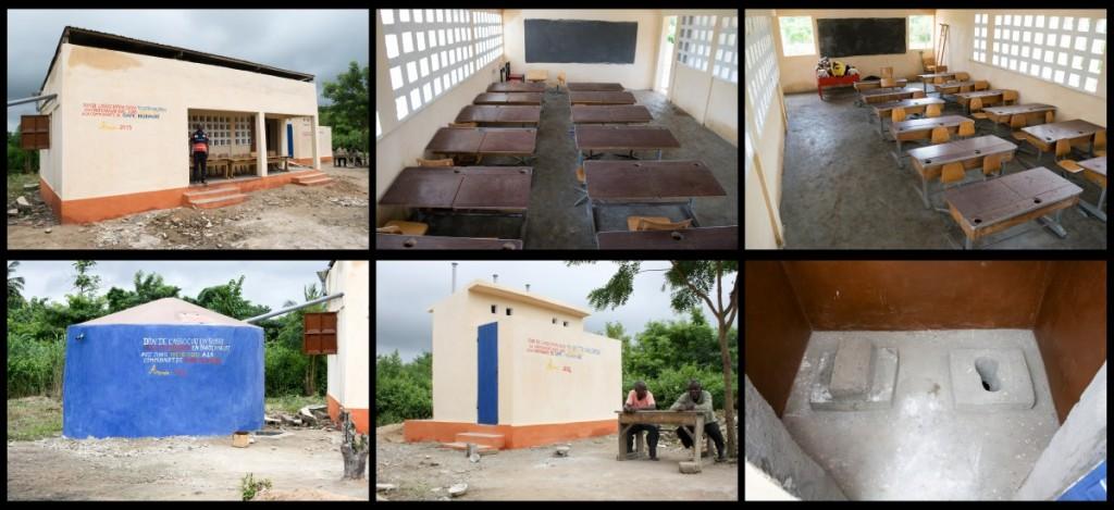 L'école terminée, la citerne et les latrines.